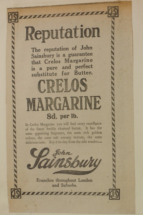 SA/MARK/ADV/1/1/1/1/1/6/1/145 - Newspaper advert for Crelos Margarine, [1912]