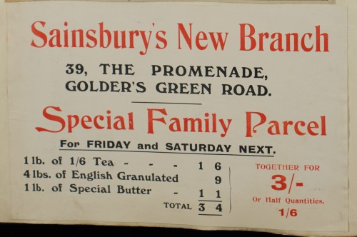 SA/MARK/ADV/1/1/1/1/1/6/1/148 - 'Sainsbury's New Branch' newspaper advert for new branch, promoting 'Special Family Parcel' [1912]