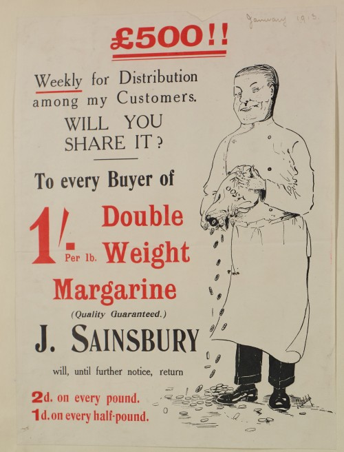 SA/MARK/ADV/1/1/1/1/1/6/1/155 - '£500!!' paper advert for Margarine promotion, 1913
