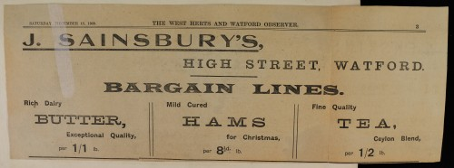 SA/MARK/ADV/1/1/1/1/1/6/1/17 - Butter, Hams and Tea Christmas newspaper advert, 1909