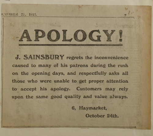 SA/MARK/ADV/1/1/1/1/1/6/1/185 - Newspaper notice 'Apology regarding recent Open Days at the [Norwich] store', 1913