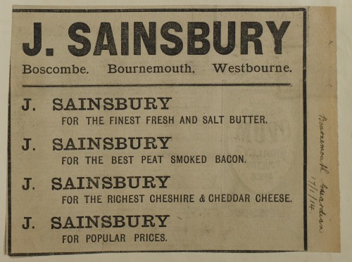 SA/MARK/ADV/1/1/1/1/1/6/1/189 - Newspaper advert for Butter, Bacon and Cheese, Bournemouth Guardian, 1914