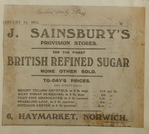 SA/MARK/ADV/1/1/1/1/1/6/1/197 - Newspaper advert for Sugar from The Eastern Daily Press, 1914