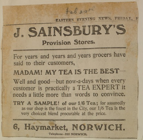 SA/MARK/ADV/1/1/1/1/1/6/1/198 - Newspaper advert for Tea from The Eastern Evening News, 1914