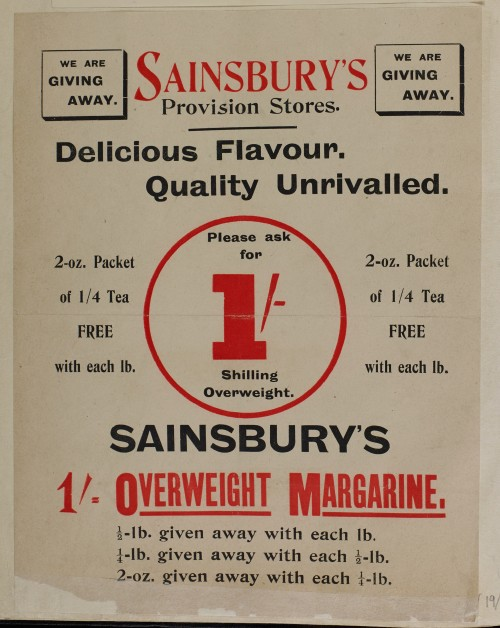SA/MARK/ADV/1/1/1/1/1/6/1/19 - Advert for Giveaways of Tea and Margarine, 1909