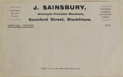 SA/MARK/ADV/1/1/1/1/1/6/1/24 - Blank template for special offers from J. Sainsbury, Stamford Street, Blackfriars, 1910