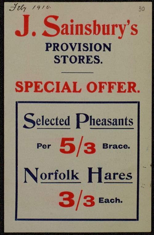 SA/MARK/ADV/1/1/1/1/1/6/1/29 - Pheasants and Hares advertisement, 5 Hampstead Branches, 1910