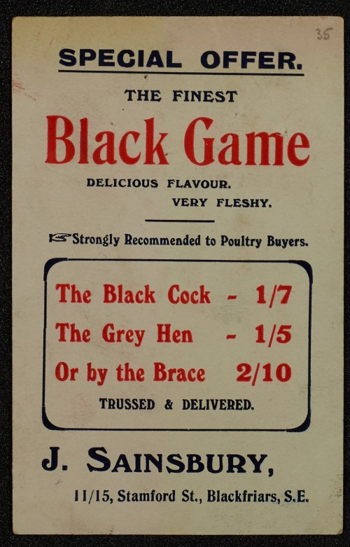 SA/MARK/ADV/1/1/1/1/1/6/1/34 - Black Game Advertisement, 1910