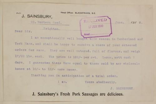 SA/MARK/ADV/1/1/1/1/1/6/1/37 - Customer letter offering Ham to order, 1910