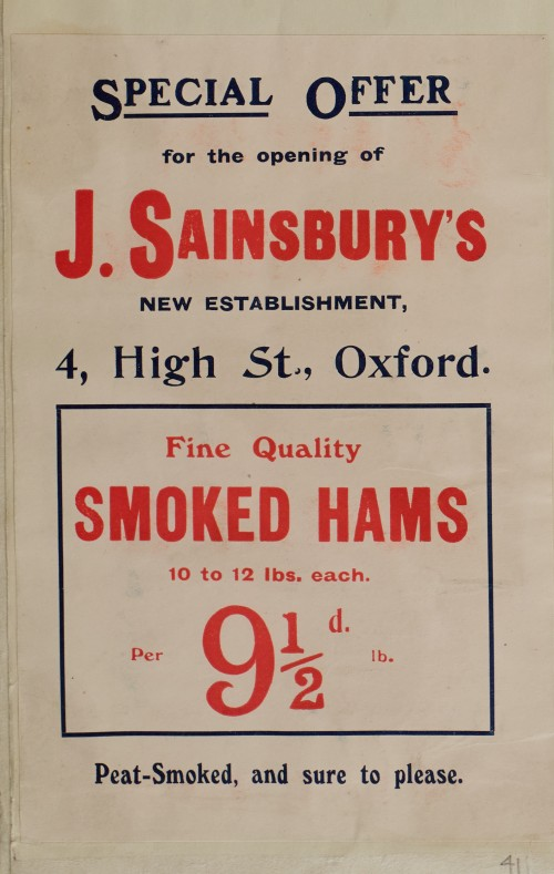 SA/MARK/ADV/1/1/1/1/1/6/1/41 - Advertisement for Smoked Hams Branch Opening Offer, 4 High Street Oxford, [1910]