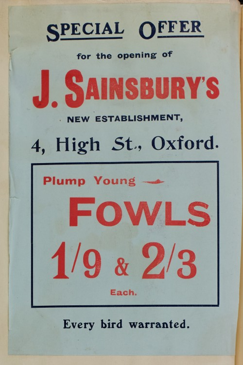 SA/MARK/ADV/1/1/1/1/1/6/1/48 - Fowls advertisement for 4 High Street, Oxford branch [1910]