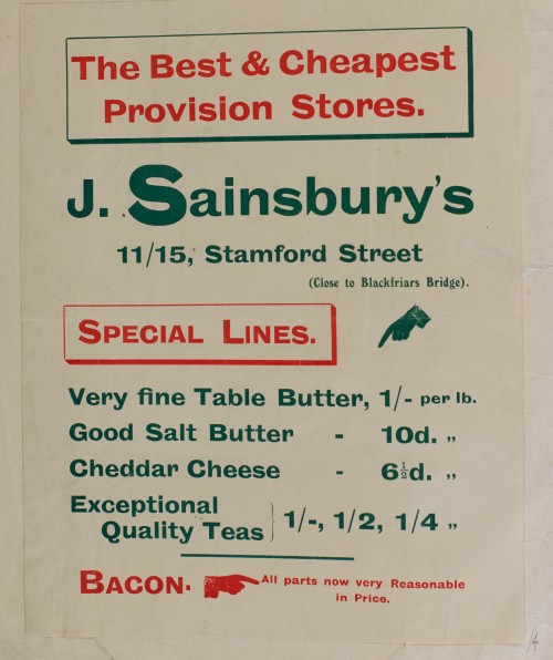 SA/MARK/ADV/1/1/1/1/1/6/1/4 - Butter, Cheese, Tea and Bacon advertisement, c.1909