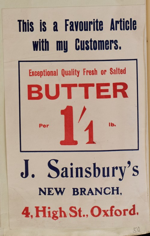 SA/MARK/ADV/1/1/1/1/1/6/1/50 - Fresh or salted butter advert for new branch at 4 High Street, Oxford [1910]