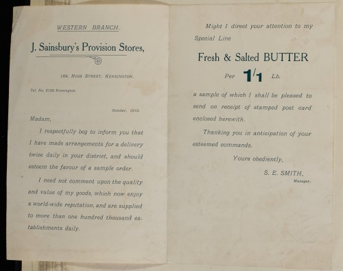SA/MARK/ADV/1/1/1/1/1/6/1/57 - Notice to customers informing of local deliveries and samples of butter, 1910