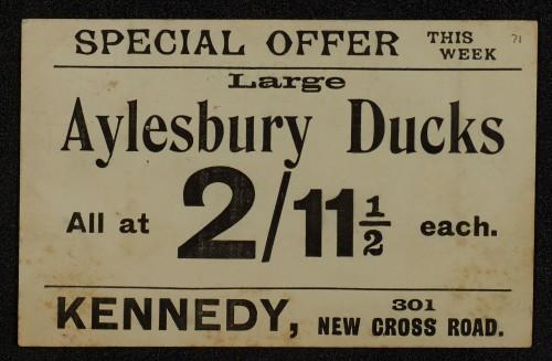 SA/MARK/ADV/1/1/1/1/1/6/1/68 - Card advert for Aylesbury Ducks, 1910