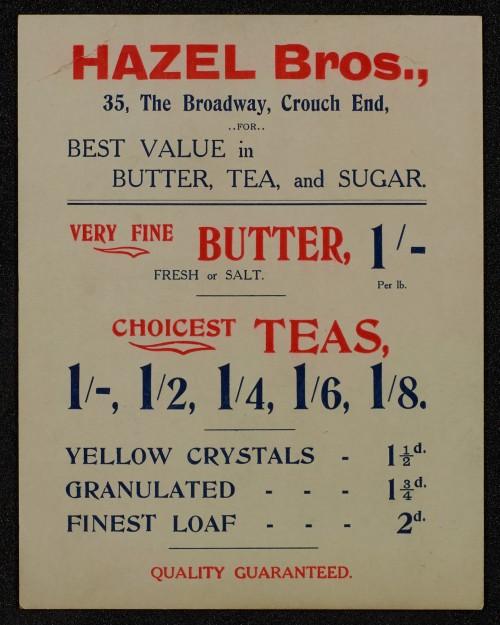 SA/MARK/ADV/1/1/1/1/1/6/1/71 - Card advert for Butter, Tea and Sugar, 1911