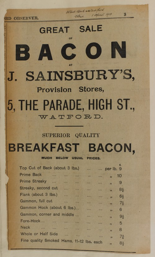 SA/MARK/ADV/1/1/1/1/1/6/1/76 - Newspaper advert for Breakfast Bacon, 1911