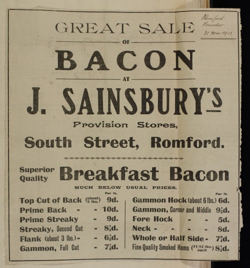 SA/MARK/ADV/1/1/1/1/1/6/1/77 - Newspaper advert for sale of Bacon, 1911