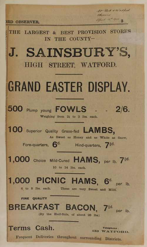 SA/MARK/ADV/1/1/1/1/1/6/1/86 - Easter newspaper advert for meat, poultry, game, ham, bacon, fowls and lambs, 1911