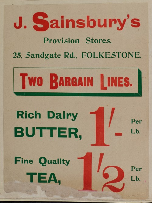 SA/MARK/ADV/1/1/1/1/1/6/1/9 - Butter and tea advertisement, c.1909