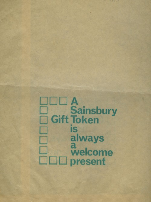 "SA/PKC/PAC/2/1/6/1 - ""A Sainsbury Gift Token is always a Welcome Present"" paper bag"