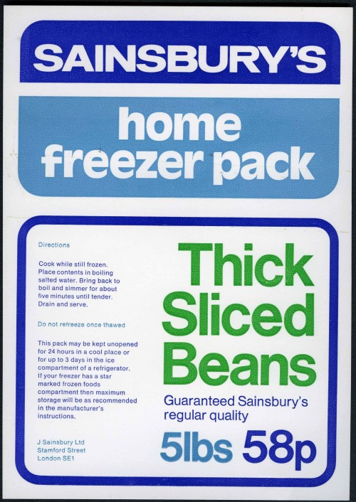 SA/PKC/PRO/1/10/1/22/1 - Sainsbury's Home Freezer Pack Thick Sliced Beans packaging design