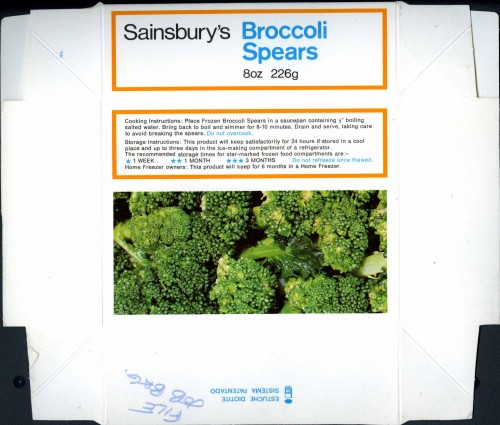 SA/PKC/PRO/1/10/1/30/1 - Sainsbury's frozen broccoli spears packaging, c.1980