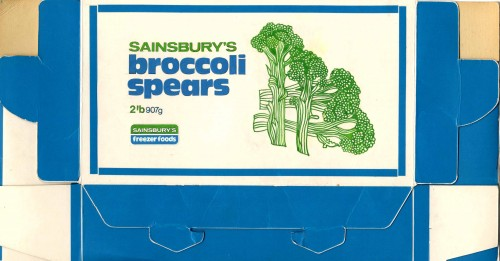 SA/PKC/PRO/1/10/1/30/2 - Sainsbury's Freezer Foods Broccoli Spears packaging proof, [1980s]