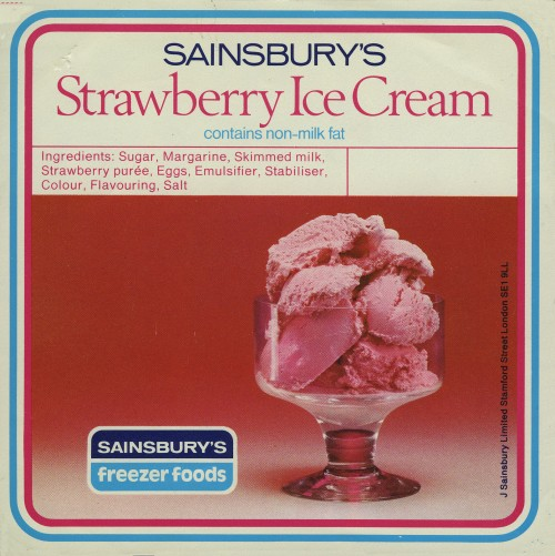 SA/PKC/PRO/1/10/2/1/12/1 - Sainsbury's Strawberry Ice Cream packaging, 1970s-1980s