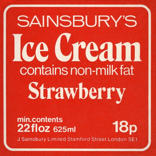 SA/PKC/PRO/1/10/2/1/12/2 - Sainsbury's Ice Cream - Strawberry label, 1970s