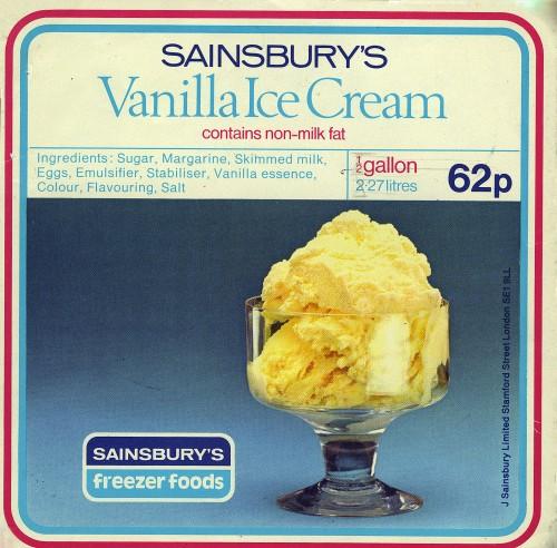 SA/PKC/PRO/1/10/2/1/9/1 - Sainsbury's Vanilla Ice Cream label, 1970s-1980s