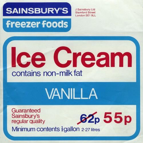 SA/PKC/PRO/1/10/2/1/9/2 - Sainsbury's Ice Cream - Vanilla label, 1970s-1980s