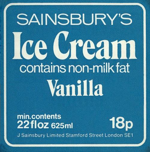 SA/PKC/PRO/1/10/2/1/9/3 - Sainsbury's Ice Cream - Vanilla label, 1970s