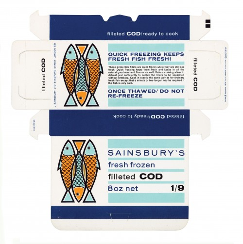 SA/PKC/PRO/1/10/2/3/23/1 - Sainsbury's Fresh Frozen Filleted Cod 8oz packet, 1960s