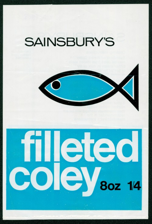 SA/PKC/PRO/1/10/2/3/25/1 - Sainsbury's Filleted Coley 8oz (frozen) packet, 1968