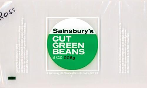 SA/PKC/PRO/1/10/2/4/5/1 - Sainsbury's Cut Green Beans (frozen) 8oz 226g wrapper, 1960s-1970s