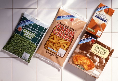 SA/PKC/PRO/1/10/4/a1/2 - Photograph of products from Sainsbury's Freezer Foods range: peas, chips, fish fingers, apple pie