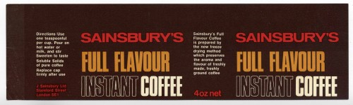 SA/PKC/PRO/1/11/2/1/10/1 - Sainsbury's Full Flavour Instant Coffee label, [1960s]