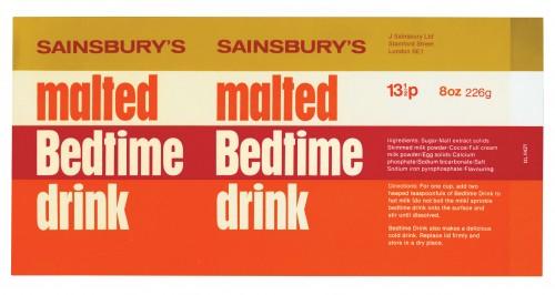 SA/PKC/PRO/1/11/2/2/1/1 - Sainsbury's Malted Bedtime Drink 8oz 226g label, 1973