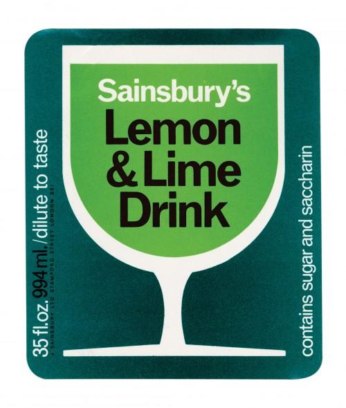 SA/PKC/PRO/1/11/2/2/12/1 - Sainsbury's Lemon & Lime Drink 35fl.oz. 994ml. Label, 1971