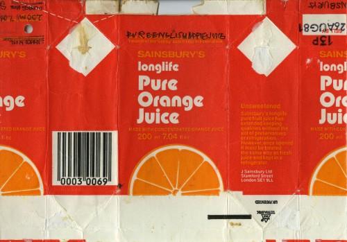 SA/PKC/PRO/1/11/2/2/13/1 - Sainsbury's Longlife Pure Orange Juice label (200ml), 1970s-1980s