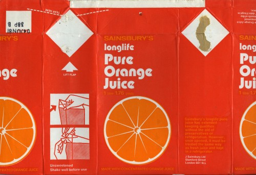 SA/PKC/PRO/1/11/2/2/13/2 - Sainsbury's Longlife Pure Orange Juice label (1 litre), 1970s-1980s