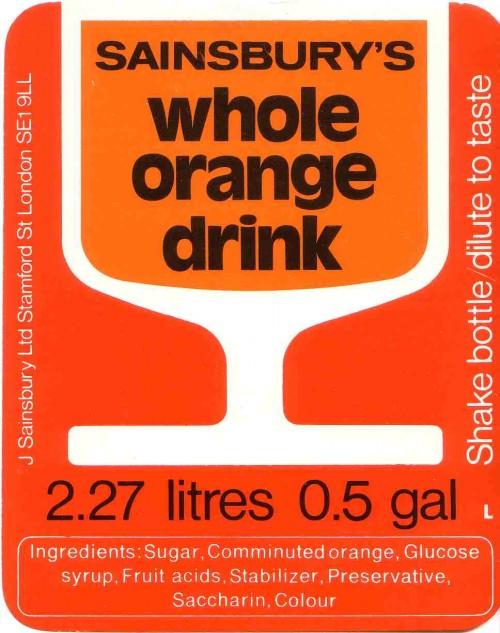 SA/PKC/PRO/1/11/2/2/19/1 - Sainsbury's Whole Orange Drink 2.27 litres 0.5 gal label