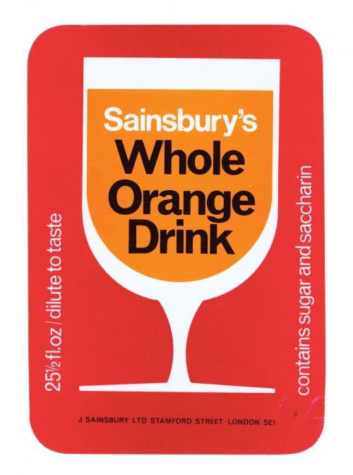 SA/PKC/PRO/1/11/2/2/19/3 - Sainsbury's Whole Orange Drink 25½fl.oz label, 1970