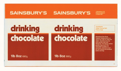 SA/PKC/PRO/1/11/2/2/2/1 - Sainsbury's Drinking Chocolate 1lb 8oz 680g label, 1973