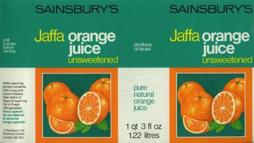 SA/PKC/PRO/1/11/2/2/24/1 - Sainsbury's Whole Orange Drink label, 1970s