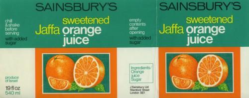 SA/PKC/PRO/1/11/2/2/24/2 - Sainsbury's Jaffa Orange Juice Unsweetened label, 1960s-1970s