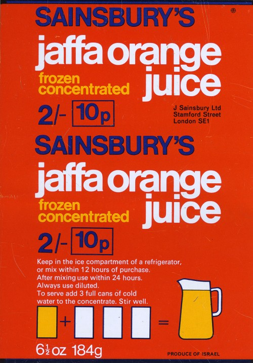 SA/PKC/PRO/1/11/2/2/24/3 - Sainsbury's Jaffa Orange Juice Sweetened label, 1960s-1970s