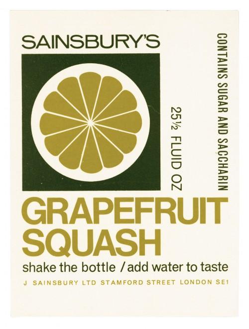 SA/PKC/PRO/1/11/2/2/38/1 - Sainsbury's Grapefruit Squash 25½ fluid oz label, 1966