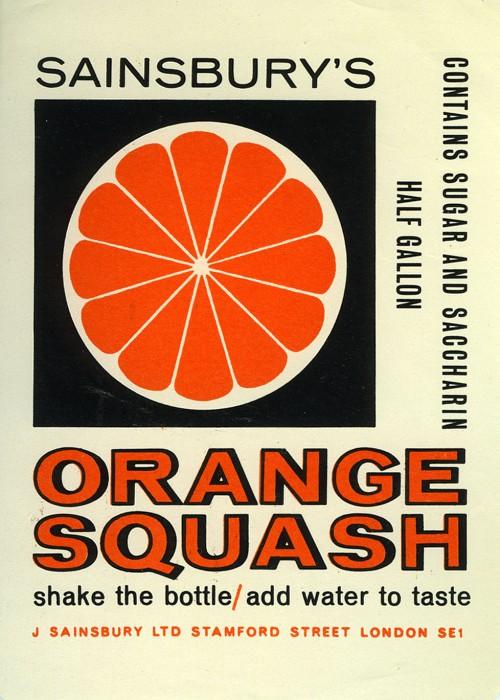 SA/PKC/PRO/1/11/2/2/4/1 - Sainsbury's Orange Squash label, 1960s